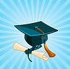 Vector clipart: Graduation cap and diploma