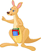 Cartoon Kangaroo and books
