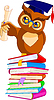 Vector clipart: Cartoon Wise Owl with graduation cap and diploma