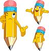 Vector clipart: Pencil Character facial expressions