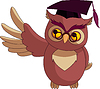 Vector clipart: Cartoon Wise Owl with graduation cap