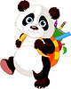 Vector clipart: Cute panda goes to school