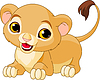 Векторный клипарт: рычащий львенок