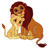 Vector clipart: Lion and cub together