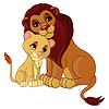 Löwe und Junges zusammen