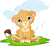 Векторный клипарт: Грустный львенок