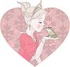 Векторный клипарт: Принцесса Поцелуй лягушки