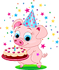 Vector clipart: Piglet with cake
