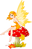 Vector clipart: Autumn Fairy on Mushroom