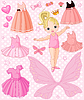 Vector clipart: Baby Girl with different ballet and princess dresses