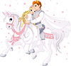 Romantic couple on horse