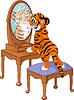 Tiger cub looking in mirror