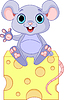 Vector clipart: Mouse on cheese