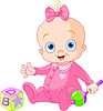 Vector clipart: nice baby girl