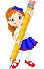 Vector clipart: Girl holding pencil