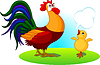 Vector clipart: Father Rooster and Baby Chick