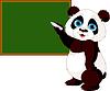 熊猫写在黑板上 | 向量插图