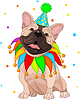 Vector clipart: French bulldog's Birthday