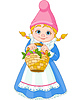 Vector clipart: Garden Gnome with basket