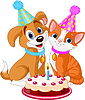 Vector clipart: Cat and Dog celebrating