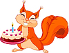 Vector clipart: Squirrel holding cake