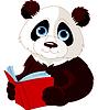 Vector clipart: Panda reading book