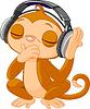 Векторный клипарт: Симпатичные маленькие прослушивания музыки Обезьяна
