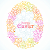 floral greeting card of Easter. Egg