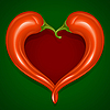 Two Red Hot chilli pepper frame as heart