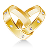 Vector clipart: Two wedding rings shaped heart