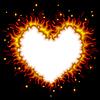Vector clipart: Fiery heart card