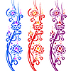 Vector clipart: Fiery flowers. Floral pattern