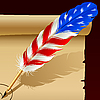 Vector clipart: Feather pen in the colors of American flag