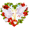 Rose wreath in shape of heart and couple of doves