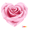 Vector clipart: Pink rose in the shape of heart