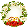 wreath with roses and golden wedding rings
