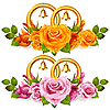 Обручальные кольца и букет роз