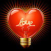 Vector clipart: Light bulb in the Shape of heart