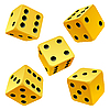 yellow rolling dice set. icon