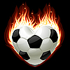 football in the shape of heart in fire
