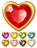 Vector clipart: jewel hearts