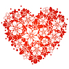 Vector clipart: Red floral heart