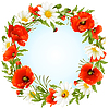 Vector clipart: camomile and poppy frame in the shape of circle
