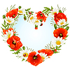 Flower frame as heart of poppies and camomiles
