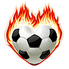 Vector clipart: football on fire in the shape of heart