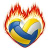 Volleyball in fire in the shape of heart | Stock Vector Graphics