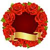 Векторные красной розы кадров в форме круглого