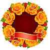 orange Rose Frame in the shape of round