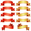 Red and golden banners set | Stock Vector Graphics