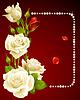 Векторные белую розу и жемчугом кадра. Дизайн элементов.